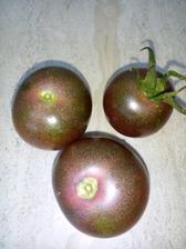 Hnědá rajčátka. nevypadají moc vábně, ale jsou sladká, uvnitř červená.