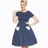 Námořnické retro šaty se srdíčky, 40