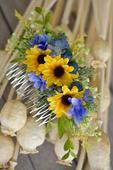 Slunečnicový hřebínek s hortenzií,