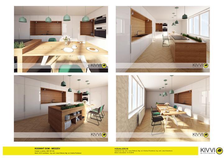 Kuchyna edge to edge so skrytymi dverami do spajze a kupelne. Vstavana doska airforce