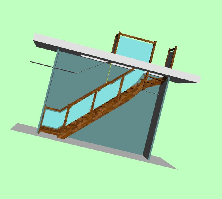 Prerabka domu v historickom centre - Schody verzia 3 uz po dalsom zamerani kombinacia dub a sklo
