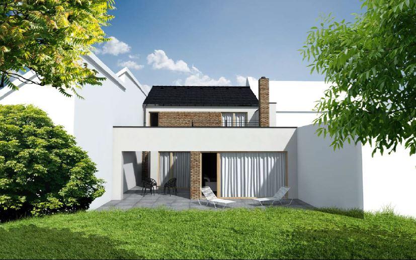 Bourání staré a stavba nové řadovky - Vizualizace nového domu – zadní strana. Dvě plnohodnotná podlaží, druhé podlaží pouze přes polovinu délky prvního.