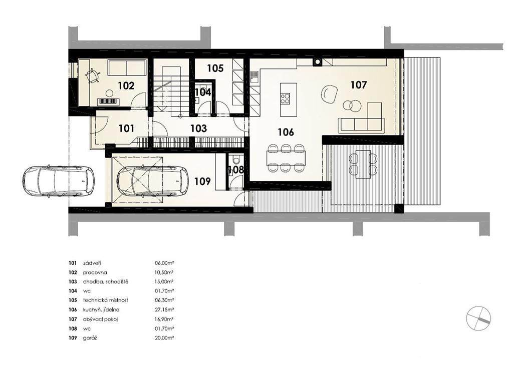 Bourání staré a stavba nové řadovky - Půdorys nového domu – 1. podlaží
