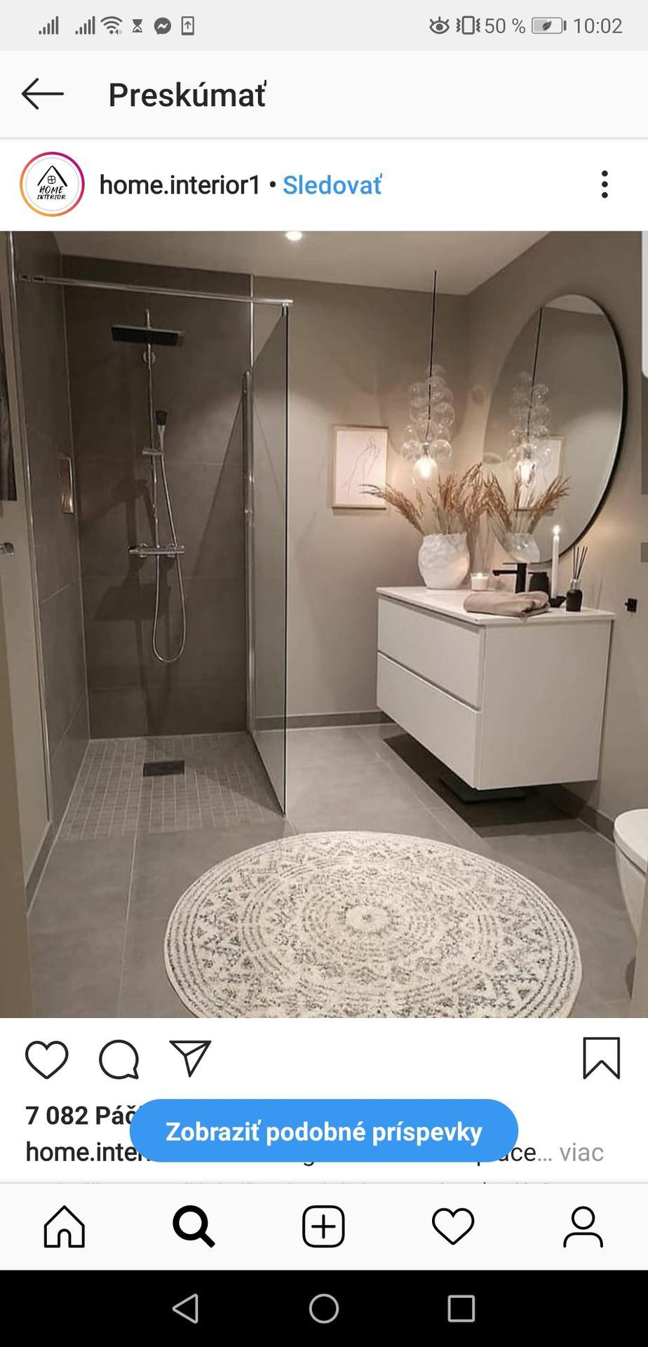 Ahojte chcem presne takúto kúpeľňu. Obklad len na zem a sprcháč. Bude to spodná kúpeľňa kde sa bude využívať len WC, sprcha len pre návštevy. Treba tie steny na ktorých je farba nejako špeciálne ošetriť alebo natrieť alebo to stačí len umývateľný náter? Ďakujem - Obrázok č. 1
