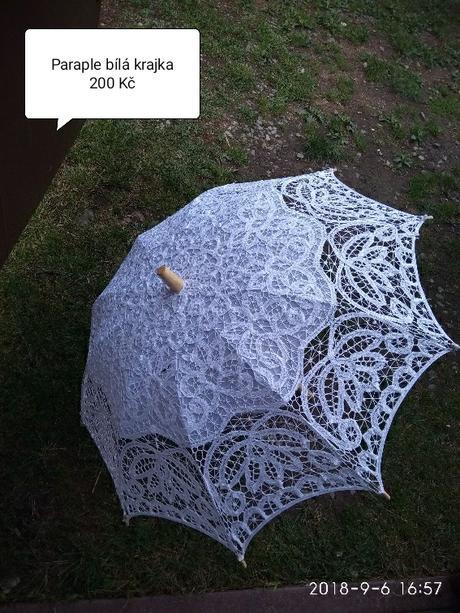 Bílý krajkový deštník/paraple - Obrázek č. 1