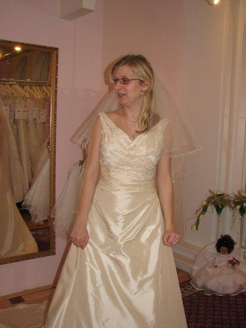 Svatba A+P, šaty - (šaty č. 3) Moc krásné, jediné šampaň, ale vršek mi byl moc velký, prý se to dá upravit, ale trošku se toho bojím