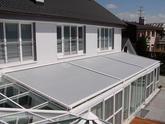 Zatienenie zimnej záhrady clonami Airomatic (Stobag) 3 KS 420 x 420 cm)