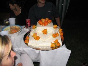 náš dort z časových důvodu jsme ho krájeli až večer