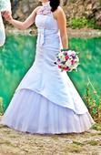 svadobné šaty + závoj a kruhy, 36