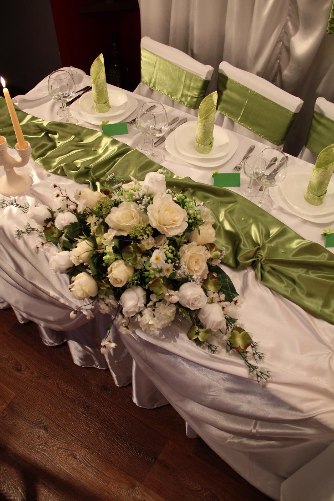 ....saténová výzdoba zelená-krásna olivová... - Obrázok č. 2