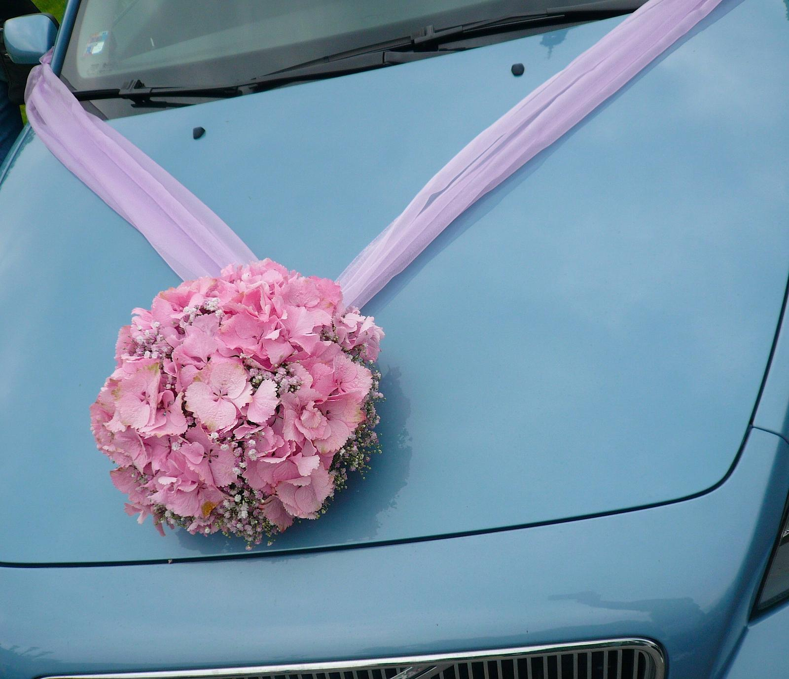 Ozdoba auta z hortenzií - Obrázek č. 1