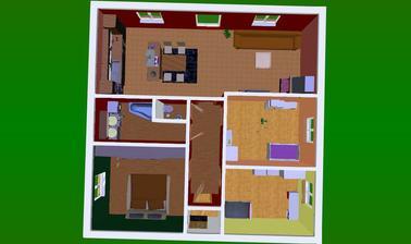 Toto je bungalov 10,5  x 10,5 m Tak nějak by to mohlo vypadat.. přemýšlíme nad technickou místností.