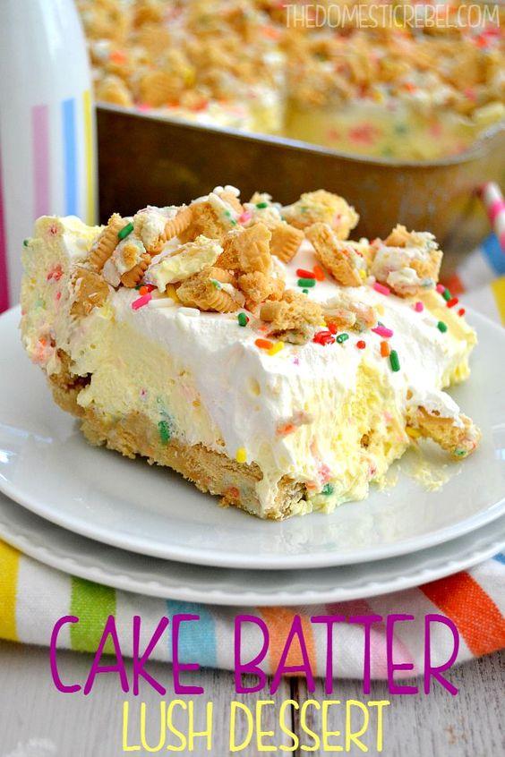 Americké koláčky - Cake Batter Lush Dessert