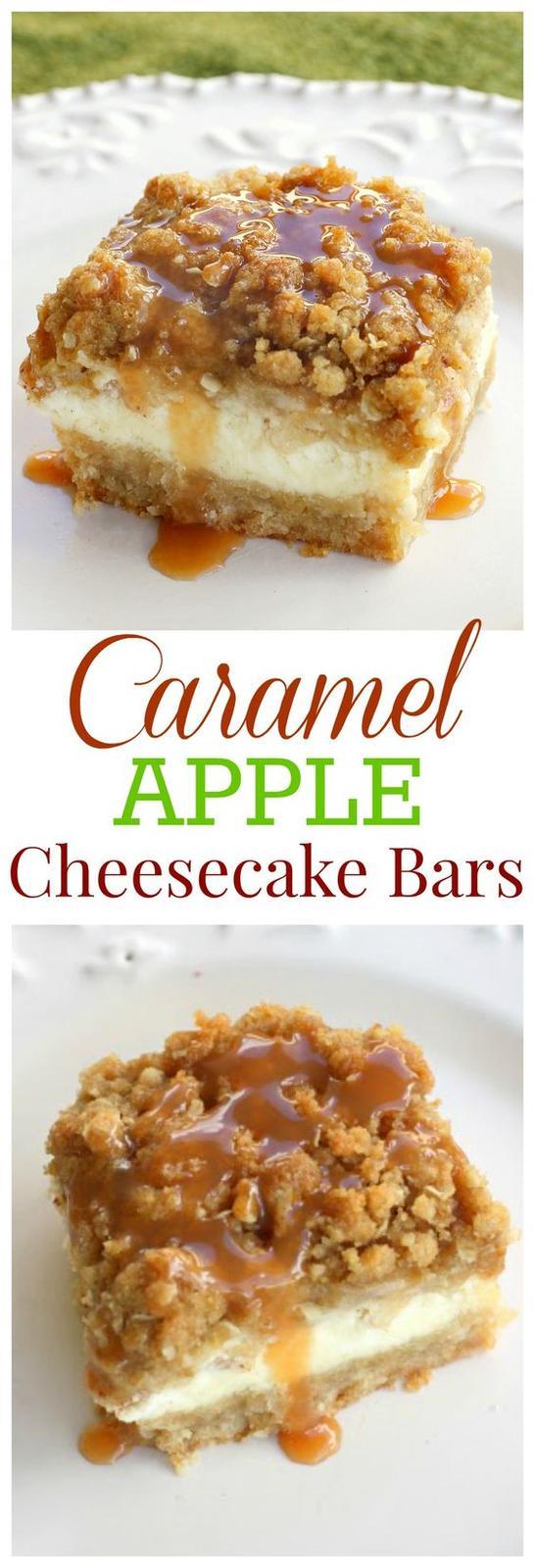 Americké koláčky - Caramel Apple Cheesecake Bars