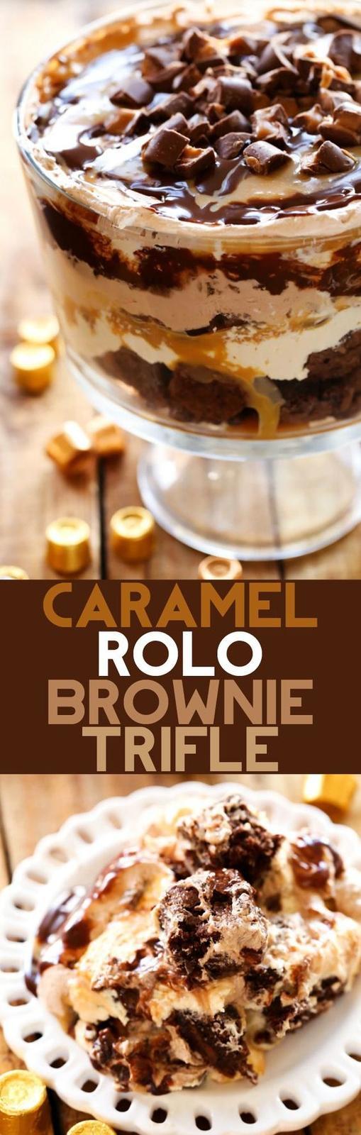 Americké koláčky - Caramel ROLO Brownie Trifle
