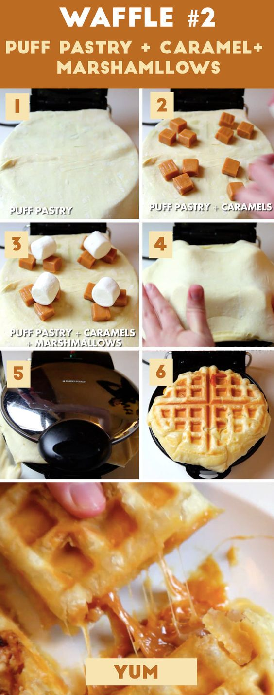 Americké koláčky - Easy Puff Pastry Waffle with Caramels + Marshmallows