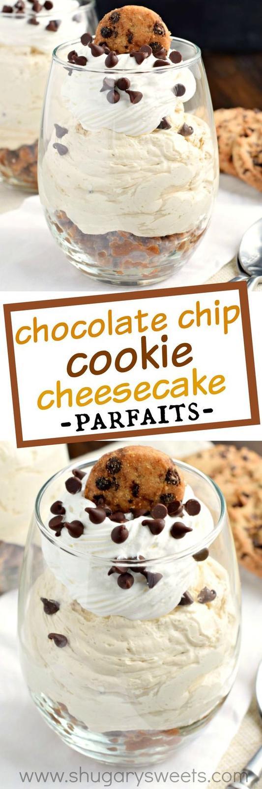 Americké koláčky - Chocolate Chip Cookie Cheesecake Parfait