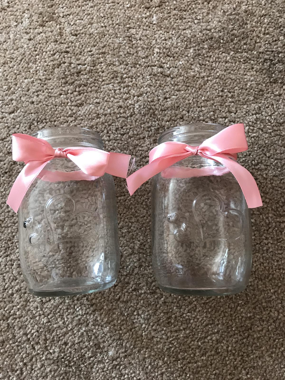 2 sklenice s víčkem a růžovou mašlí - Obrázek č. 1