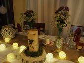 Výzdoba brezová s jutou / bielo - vínová ,
