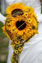 slunečnice, chryzantémky santini