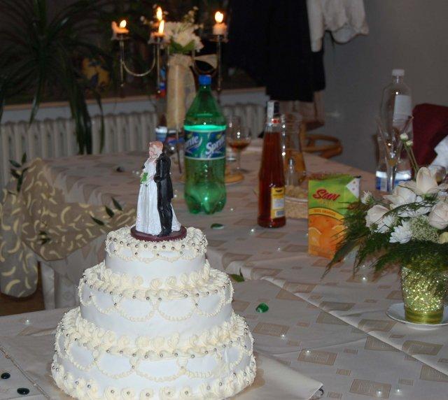 Katka{{_AND_}}Petrík - Nasa torticka...aj ked nebola presne ako som chcela, tetusky cukrarky do toho polozili vlastnu fantaziu...:)