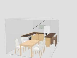 Kuchyň s jídelním koutem. skosení střechy je nad linkou ( kde je sporák a myčka). pokusila jsem se to naznačit tou černou linkou:-)