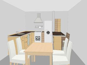 Tak ještě jedna vize. Baru se vzdát moc nechceme, a to proto, že kuchyň bude součástí jídelního koutu i obýváku a bar tak opticky kuchyň od obytných prostor odděluje.