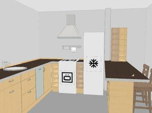 také je kuchyně dost limitována nosným sloupem krovů (napravo od lednice). bohužel na pravou stranu od něj se mi nevejde lednice, takže od kuchyně do L jsem upustila.