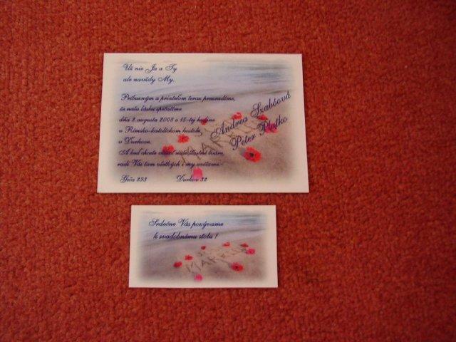 Aďka a Peťko :-) 2. august 2008 :-) - Nase svadobne oznamenie a pozvanka k svadobnemu stolu