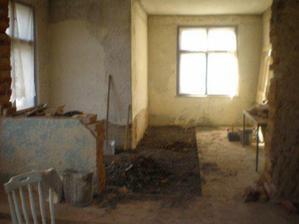 odstranění části betonové podlahy v obýváku