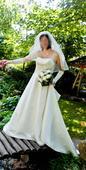 Originální svatební šaty s vlečkou, vel. 38-40, 38