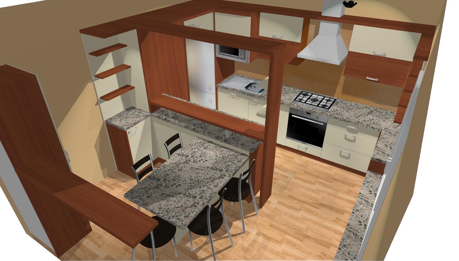 Kuchyňské linky....realizace - 3D grafický návrh před realizací