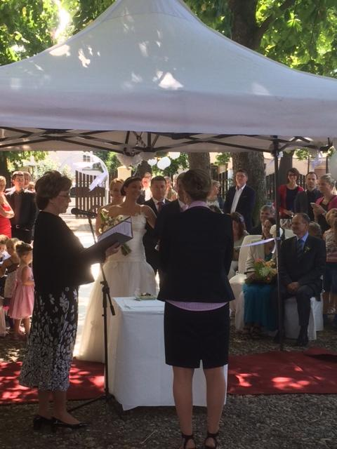 Svatební hostina  v Hotelu Svornost - obřad zahrada hotelu