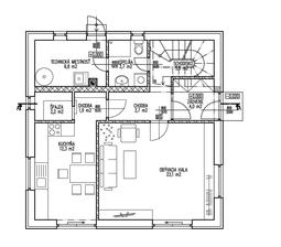 Prizemie.. priecka s dverami na chodbe do kuchyne sa mozno pocas stavby este presunie alebo zrusi. Rozmery su 8,75m x 8,75m