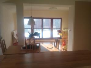 Pohled do nezařízeného obývaku.