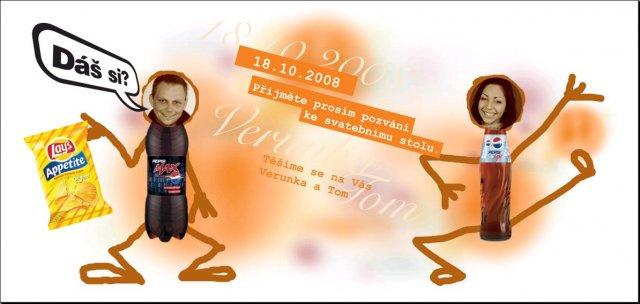 Verunka a Tomášek - naše přípravy na 18.10.08 - naše pozvánka ke svatebnímu stolu... :-)))