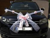 Dekorace na auto nevěsty a svatebčanů,