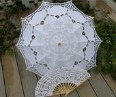 Set - svatební deštník a vějíř bílý krajkový,