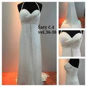 Svatební šaty s vlečkou antický styl, 38