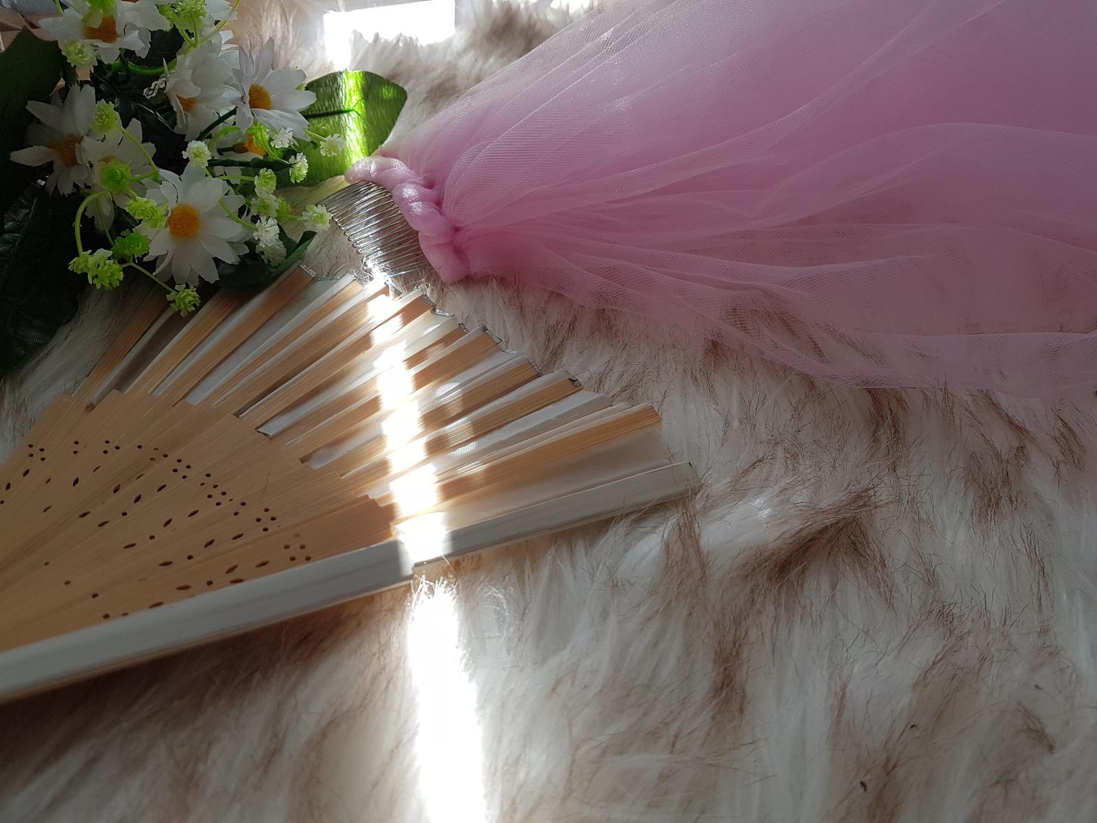 Romantický ružový závoj z veľmi jemného tylu - Obrázok č. 1