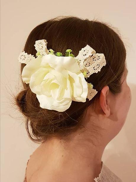 Hrebienok do vlasov - ruža a paličková čipka - Obrázok č. 1