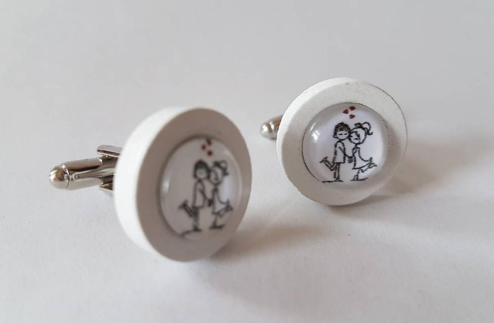 Love sada - náušnice a manžetové gombíky - Obrázok č. 2