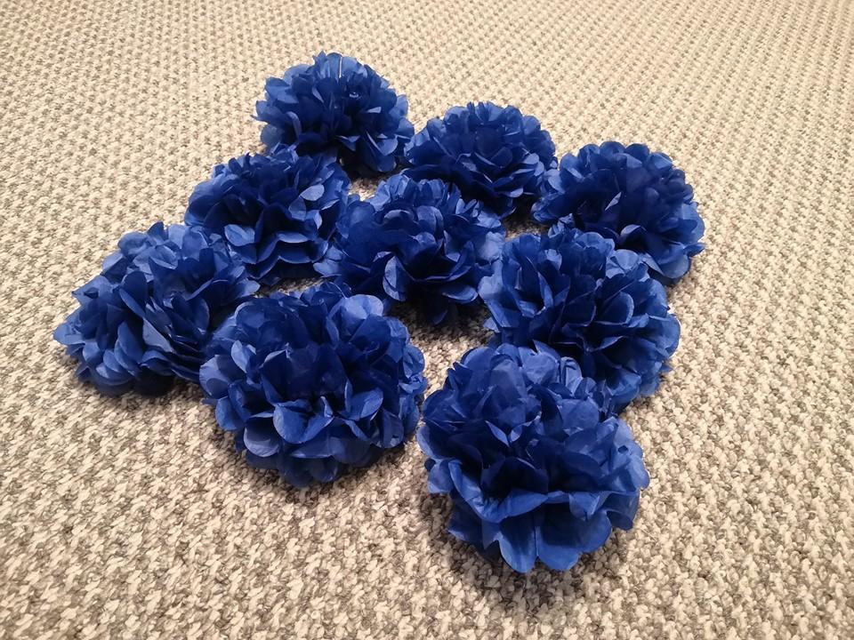 Pompoms modré, 9ks, průměr 15cm - Obrázek č. 1