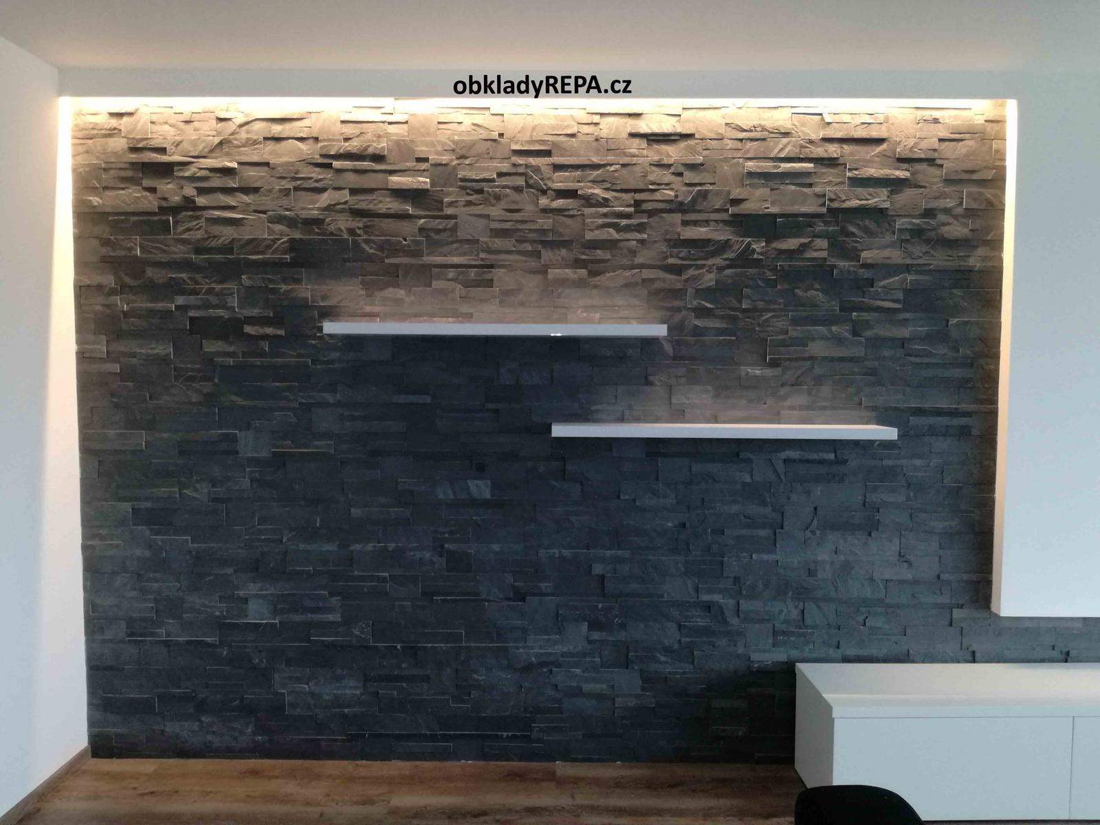 obkladyrepa - Černá břidlice - obklad vnitřní stěny