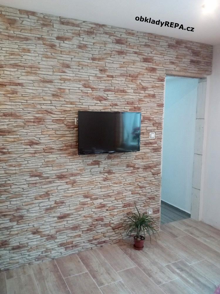 obkladyrepa - Umělý kámen na televizní stěně.