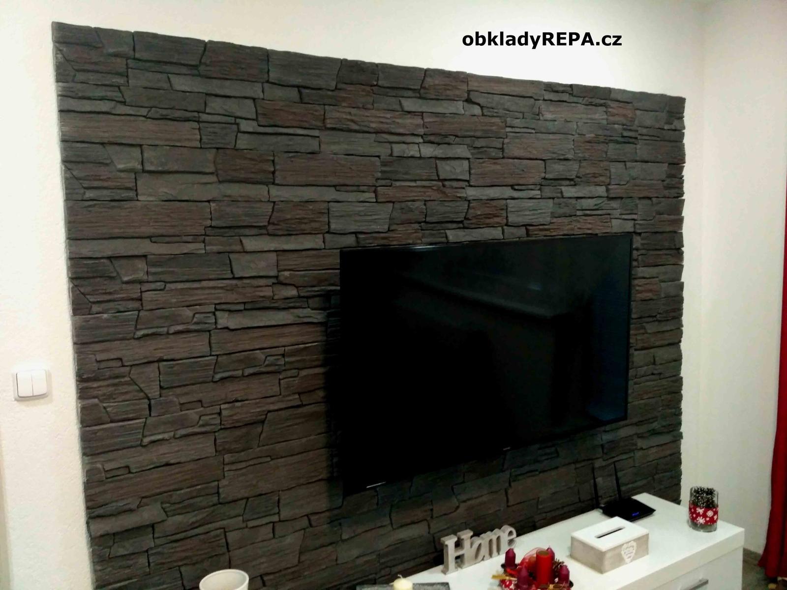 obkladyrepa - Televizní stěna obložená kamenem.