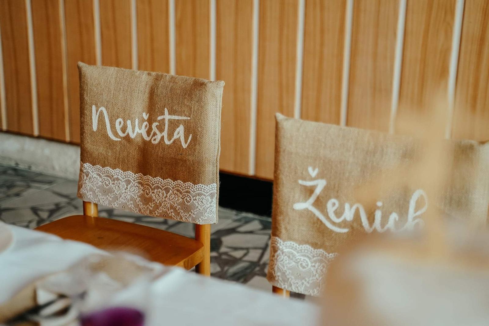 potah na židli nevěsta + ženich - Obrázek č. 1