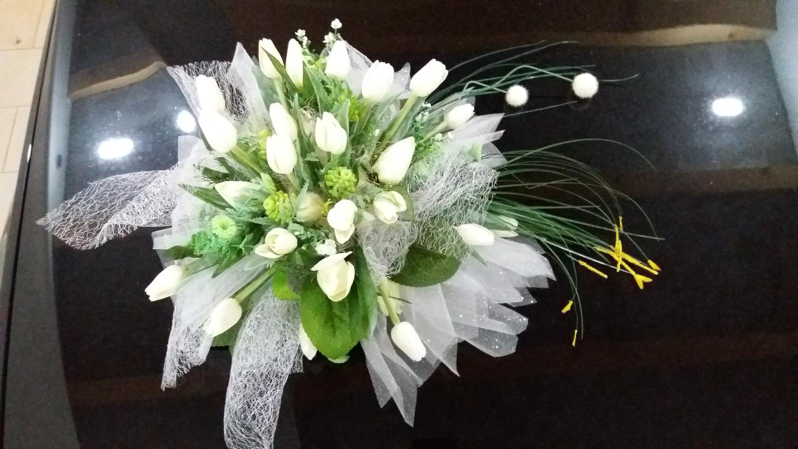 Kytice na auto ivory bílá tulipány - Obrázek č. 1