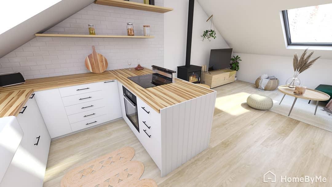Z vinného sklepa rodinný dům - Takhle by měla vypadat naše kuchyň. Vizualizaci jsem dělala sama :)