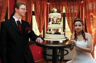 My a náš svatební dort.